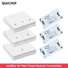 Qiachip壁パネルワイヤレスリモコン送信機 1 2 3 ボタンrfスイッチ光ランプ電球家庭のリビングルームcontrollor