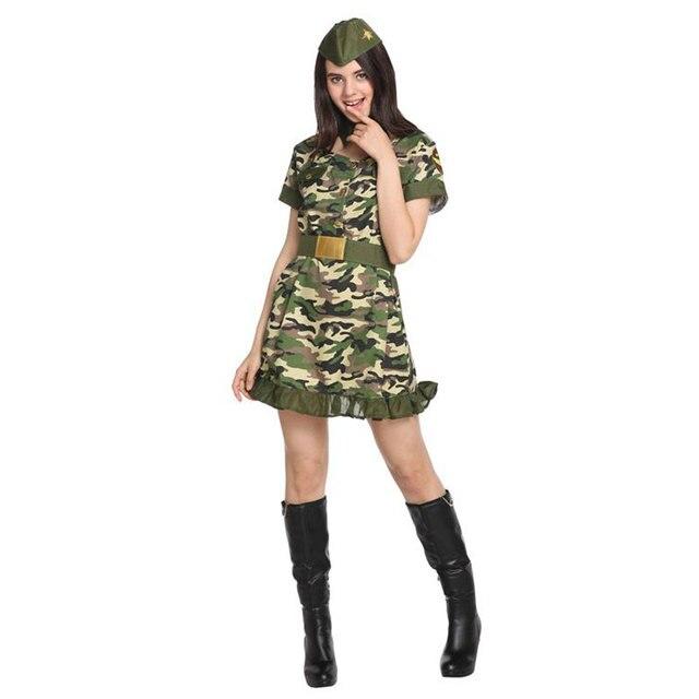 Ładna kobieta żołnierz armia wojownik kostium dla kobiet panieńskie nastoletnie dziewczyny Fantasia Halloween Purim sukienka na karnawał