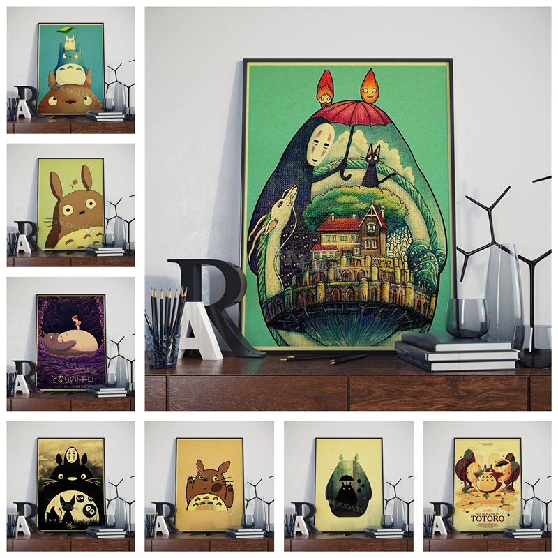 Hayao Miyazaki Japanese anime Chinchilla cartoon decoration retro art style movie Nursery Kids Room posters canvas painting M537 image