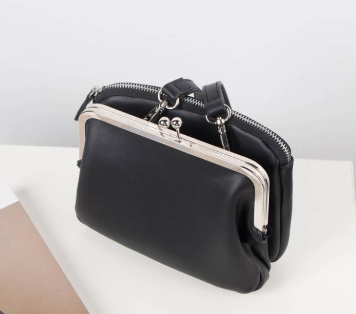 Nouvelle couleur unie double couche serrure pochette corée clip double couche pratique petit sac sac à bandoulière Messenger