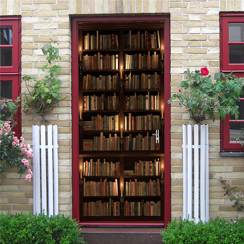 2PCS/Set Library 3D Adhesive Door Wallpaper Waterproof Sticker DIY Home Decor Living Room Mural Decals Book Of The Ocean Poster