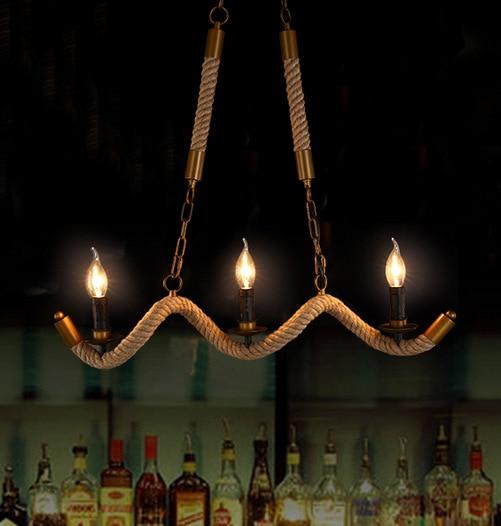 Loft Rope Chandelier Kitchen Dining room Bedroom Wave Chandelier Industrial Retro Edison Lamp lustres de teto