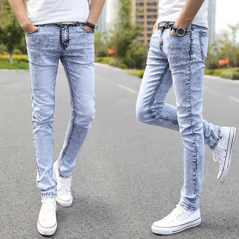 Spring Summer Elasticity Jeans Men's Light Color Skinny Pants Korean-style Slim Fit Snowflake BOY'S Pencil Pants Tight Youth