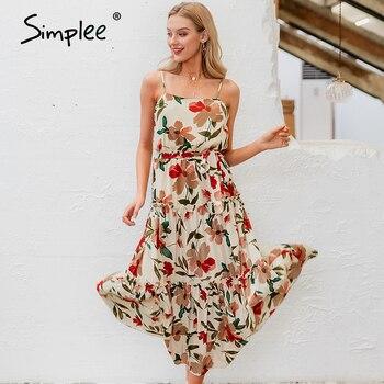 Simplee Beach spaghetti pasek kwiatowy print kobiety długa sukienka letnie wakacje wysoka talia skrzydła maxi sukienka czeski panie vestido