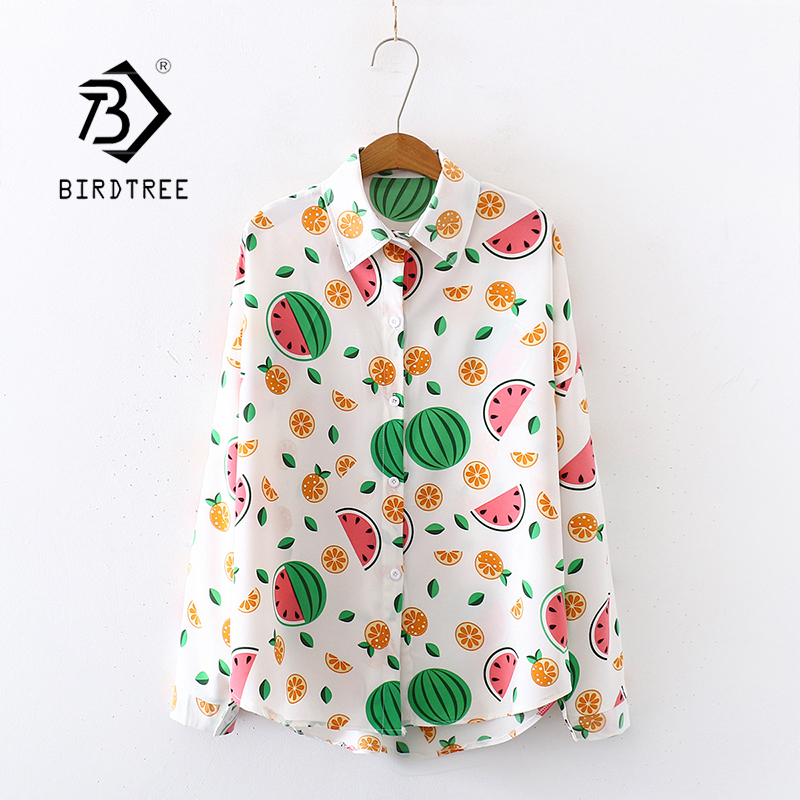 2020 Summer New Women Watermelon Print Chiffon Blouse Autumn Long Sleeve Shirt Cute Loose Tops Casual Wear Feminina Blusa T02804