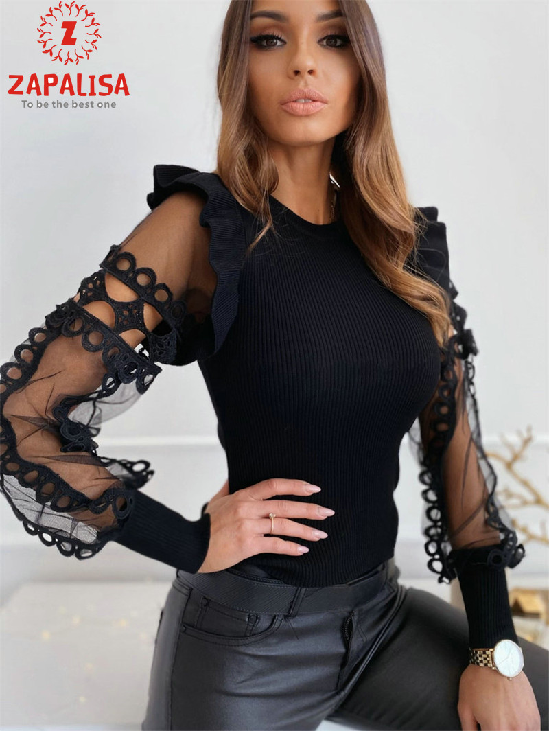 Zapalisa Knit Spring Elegant Women Tops Solid Color Female Blouses Long Sleeve Ruffles Sexy Hollow Out Lace Spliced