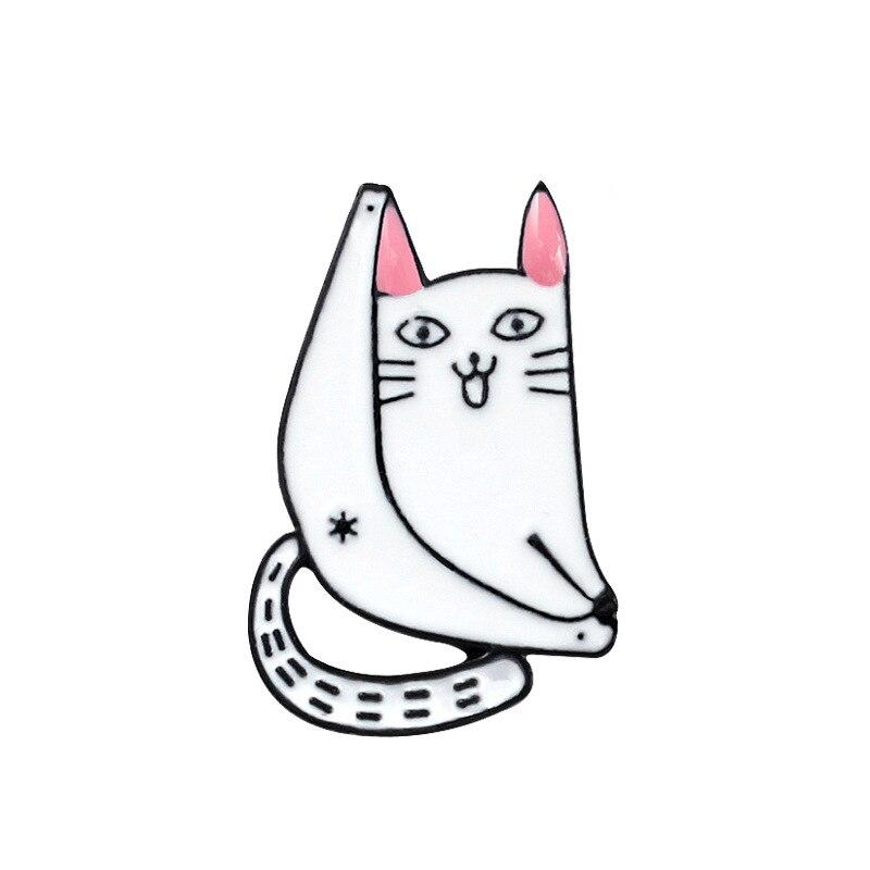 White Cat Butt Enamel Pin