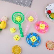 5 Pcs/Set Mini Bath Toys Baby Children Cute Rubber Duck Fishing Net Shower Games Wholesale