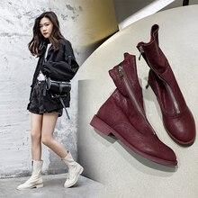 INS sıcak kadınlar ayak bileği BootsSolid renkli koyun derisi süper yumuşak patik 22 26.5 cm uzunluk vahşi ayakkabılar kadın artan batı çizmeler