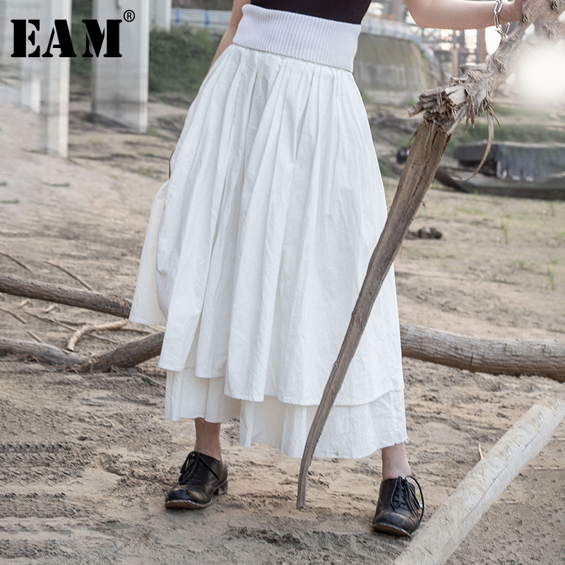 [EAM] High Elastic Waist White Asymmetrical Double Layers Half-body Skirt Women Fashion Tide New Spring Autumn 2020 JR384
