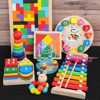 Kids Montessori Wooden Toys Rainbow Blocks Kid Learning Toy Baby Music Rattles Graphic Colorful Wooden Blocks Educational Toy 2