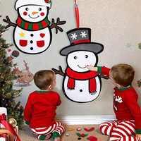 DIY filc Snowman, zestaw gier świątecznych z odpinanymi ornamentami, Xmas Wall wiszące prezenty dla dzieci ozdoby świąteczne, zestaw 2 P