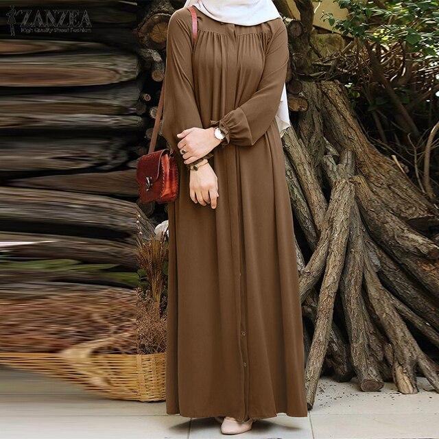 ZANZEA Women Vintage Dubai Abaya Turkey Hijab Dress Autumn Sundress Solid Muslim Islamic Clothing Long Sleeve Maxi Long Dress 1
