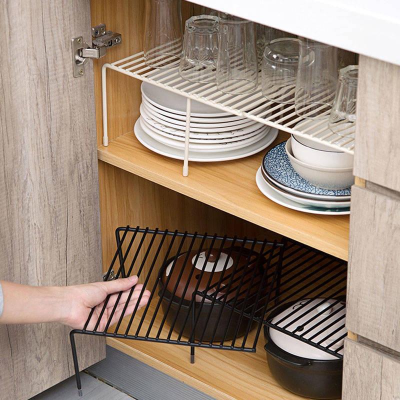 Retractable Iron Art Kitchen Shelf Cabinet Dish Rack Kitchenware Water Draining Storage Rack Household