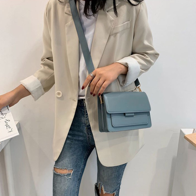 Square Bag Light Messenger-Bag Daily Small Female Blue Waterproof Fashion Woman Simple