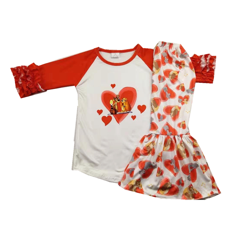 USA My 1st Valentine/'s Day Baby Girl Ruffle T-Shirt Pants Leggings 3PCS Clothes