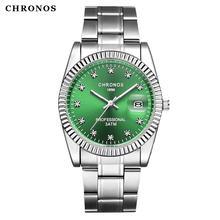 Chronos мужские роскошные стразы часы браслет водонепроницаемые