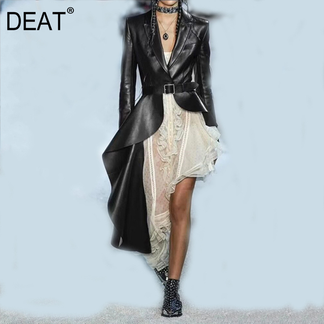 DEAT Autumn And Winter Fashion Clothes Women Turn down Collar Full Sleeve PU Leather Asymmetrical Windbreaker Trench WJ15101L