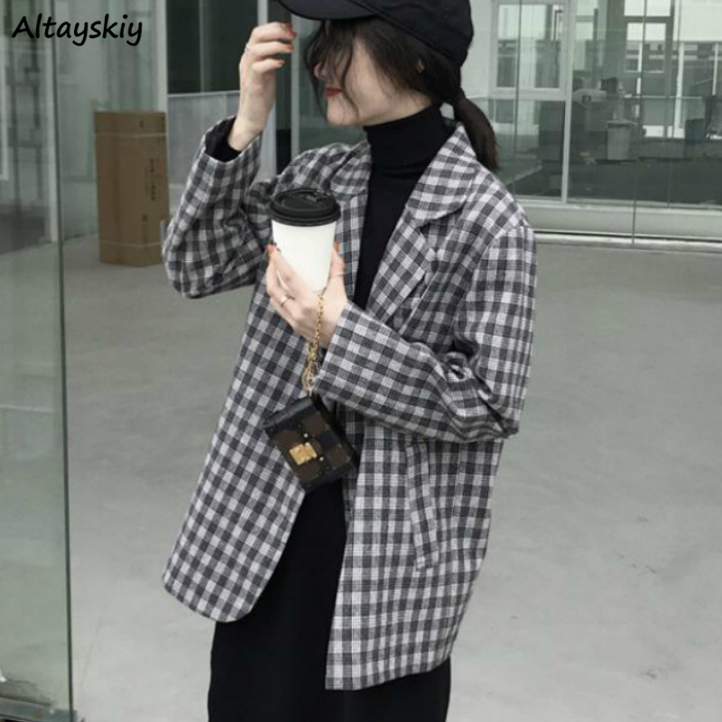 Blazers Women All-match Gray Plaid Single Breasted Long Sleeve Leisure Loose Retro Lady Pockets Coats Korean Style Chic Newest