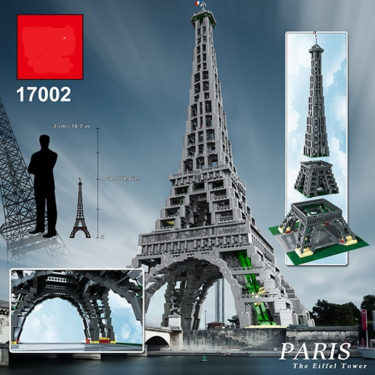 Lepinblocks 17002 City Street The Eiffel Tower Model Building Assembling Brick DIY Toys Compatible  10181 For Gifts
