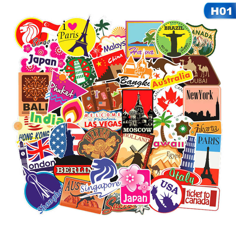 100 Pcs/set Travel Map Country Famous Logo PVC Waterproof Stickers Kids Toys Decor Suitcase Bicycle Car Guitar Skateboard(China)