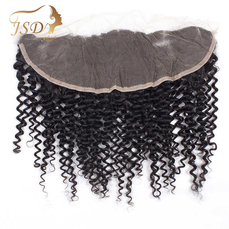 JSDShine Brazilian Kinky Curly Human Hair Lace Frontal Closure 13x4 Middle/Free/Three Part Swiss Lace 100% Remy Natural Hairline
