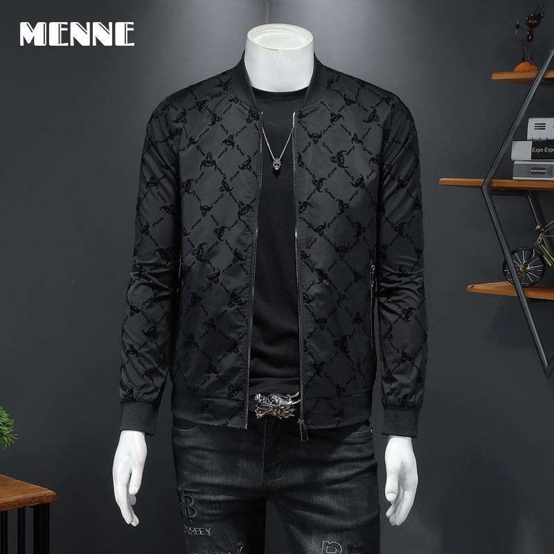 2021 New arrival high quality Spring jackets men fashion Printing flocking Baseball collar Mens jacket Casual jacket for men