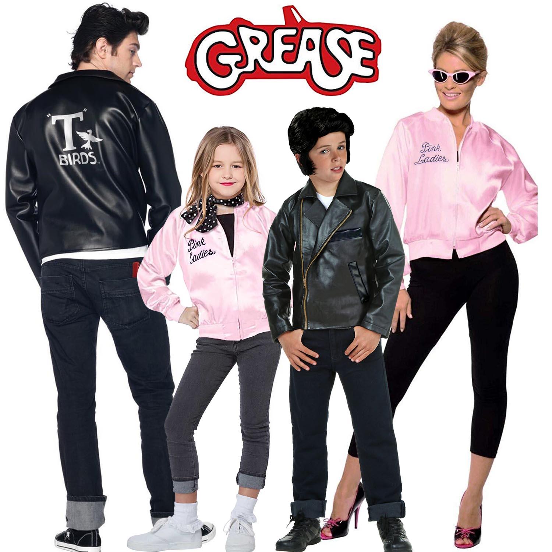 Family Halloween Grease Costume Ladies Pink Pleuche Bomber Jacket Black Biker Motorcycle Jacket Adult Kids 1950s Fancy Dress
