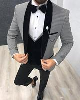 Elegant 3 Piece Men Suit 2019 Morning Dinner Party Prom Suit Houndstooth Groom Wedding Men Suit Blazer Slim Fit Best Man Tuxedo