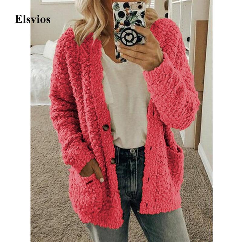 Elsvios 5XL Autumn Long Sleeve Pocket Jacket Casual Women Fleece Fur Button Coat Solid Winter Warm Plus Size Outwear Tops Mujer