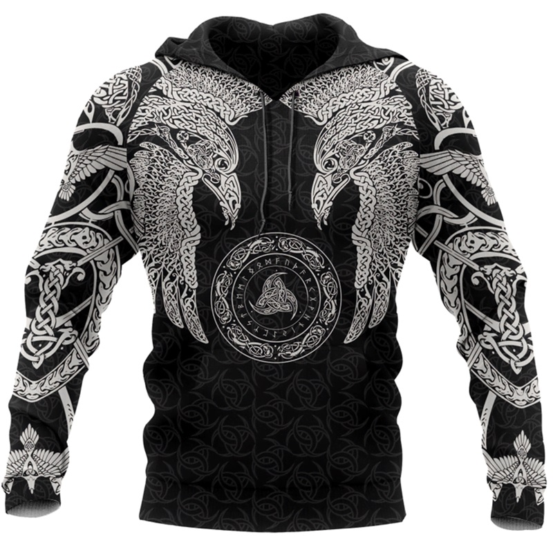Viking Munin Crow - Odin Tattoo 3D Printed Men Hoodies Harajuku Fashion Hooded Sweatshirt Autumn Unisex Hoodie Sudadera Hombre