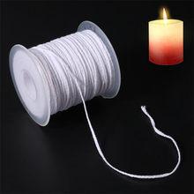 Carrete de algodón trenzado cuadrado, mechas para velas, núcleo de mecha para fabricación de velas, suministros, 61m x 2,5mm