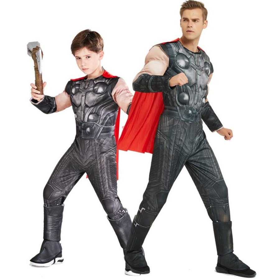 Adults Kids Thor Muscle Jumpsuits With Cloak Avengers Onesies  Superhero Cosplay Costume Mens Clothes Halloween Party Costumes