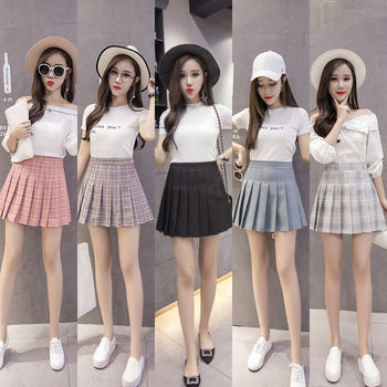 Plaid pleated skirt female short skirt new skirt female student Korean version was thin high waist a-line skirt skirt female 2019 korean version of the new skirt female was thin spring rivet high waist elastic waist black pleated skirt s xxl mini skirt