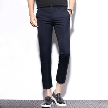 Męskie spodnie garniturowe spodnie na co dzień męskie spodnie slim z prostymi nogawkami spodnie dziewięciopunktowe jednolity kolor stretch spodnie męskie odzież męska tanie i dobre opinie Poliester Mieszkanie Zipper fly Garnitur spodnie