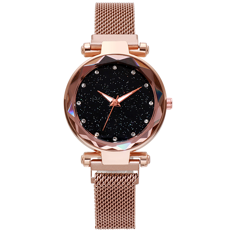 Luxury Womens Lodestone Watches Ladies Fashion Ultra-thin Rhinestone Analog Quartz Watch Female Stainless Steel Belt Reloj Mujer