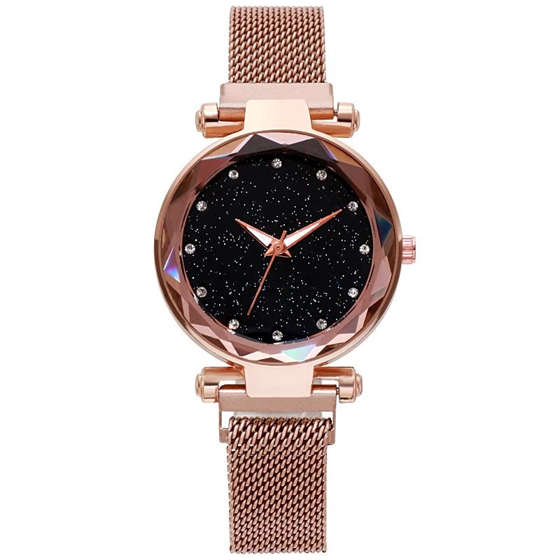 Luxury Womens Lodestone Watches Ladies Fashion Ultra-thin Rhinestone Analog Quartz Watch Female Stainless Steel Belt Reloj Mujer