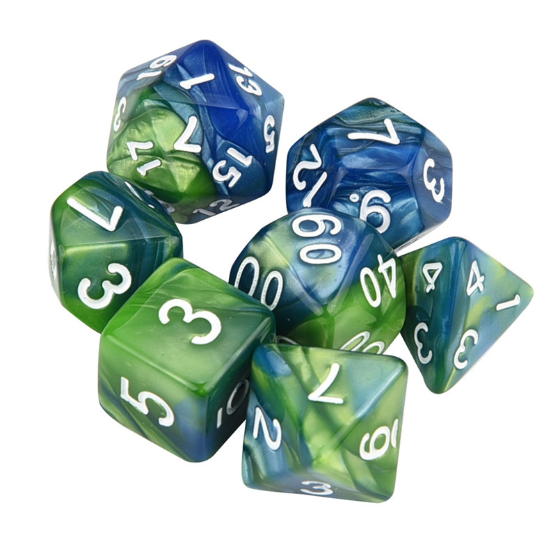 7Pcs dice set trgp game polyhedron D4-D20 multi-faceted new dice tower acrylic dados rpg two-color multi-faced dnd dice 30A19 (11)
