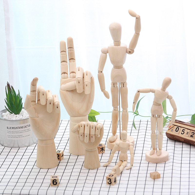 Wooden Dolls Figurine Children Toy Joint Model Flexible Movable Man Artist Small Wood Joint Puppet For Kid Home Decoration