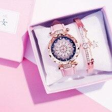 2019 kobiet zegarki zestaw bransoletek Starry Sky bransoletka damska zegarek Casual skórzany zegarek kwarcowy zegar Relogio Feminino