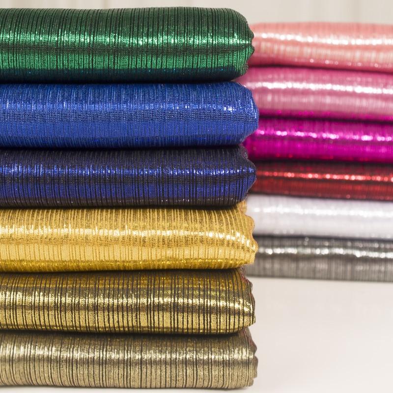 160cmx100cm Bright Silk Strip Beauty Strip Laser Magic Color Clothing Cloth Knitting Elastic Bronzing Silver Flash Light Fabric