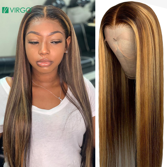 $ US $61.01 Virgo Hair 13*4 Straight Lace Front Human Hair Wigs Pre Plucked With Baby Hair Ombre Honey Blond Highlights Remy Lace Front Wigs