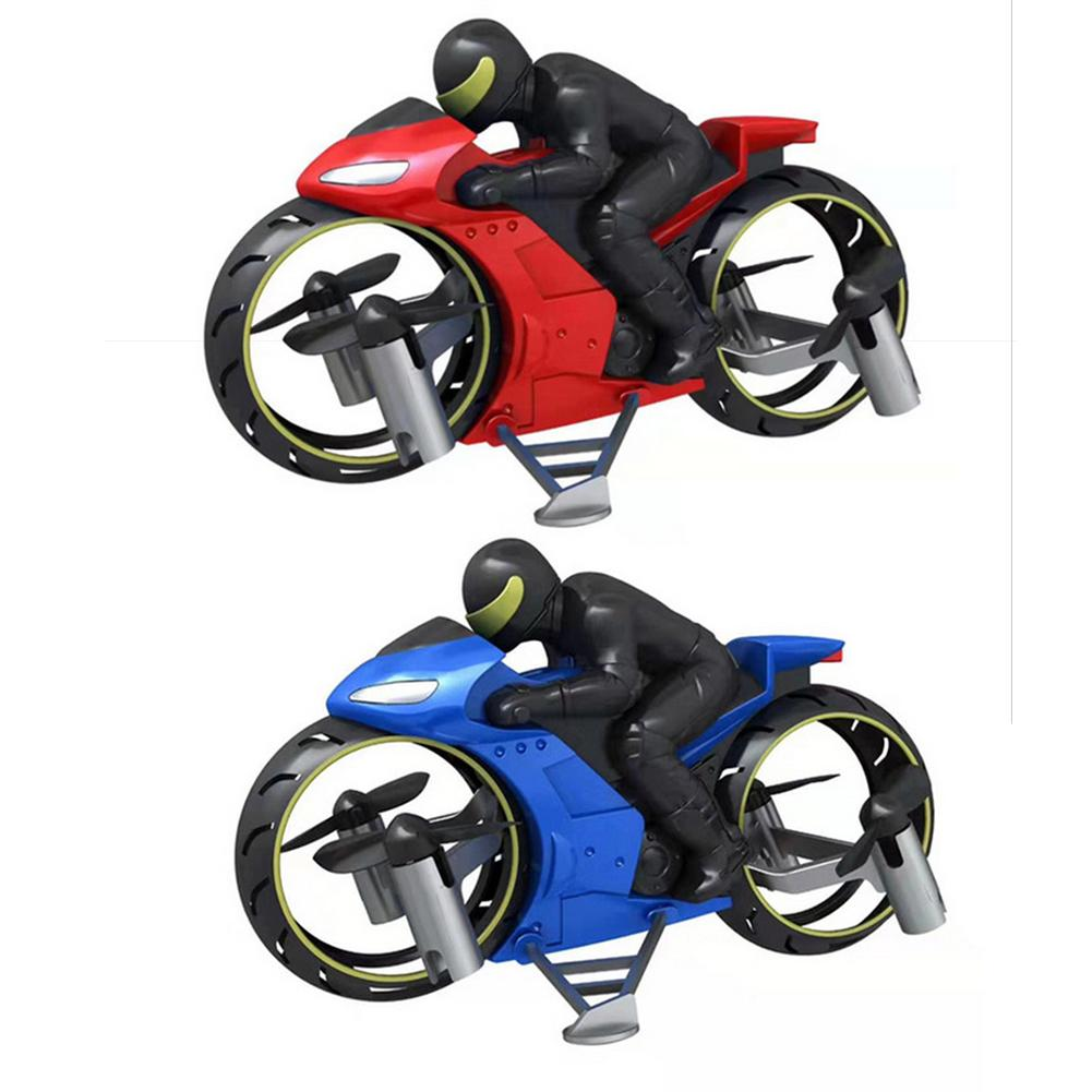 2 In Remote Control Motorcycle Land And Air Dual Mode RC Motorcycle Rechargeable Stunt Flip Motorcycle Toy With LED Light
