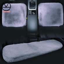KAWOSEN 3 יח\סט פו ארנב פרווה רכב מושב כיסוי, חמוד רכב פנים אבזרים לרכב כרית כיסוי סטיילינג, קטיפה מושב מכסה FFSC03