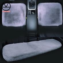 KAWOSEN 3PCS/Set Faux Rabbit Fur Car Seat Cover, Cute Car Interior Accessorie Car Cushion Cover Styling,Plush Seat Covers FFSC03