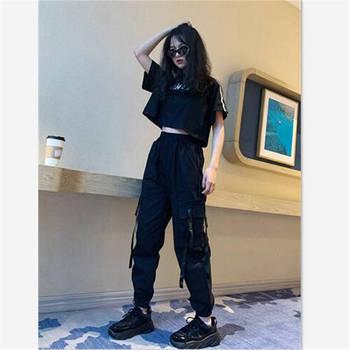 Harajuku Streetwear Cargo spodnie damskie na co dzień biegaczy czarny talii luźne kobiece spodnie koreański panie spodnie Capri jesień spodnie tanie i dobre opinie TiLeewon Kostki długości spodnie COTTON Sznurek Mieszkanie women pant Wysoka Stałe High Street Suknem Harem spodnie NONE
