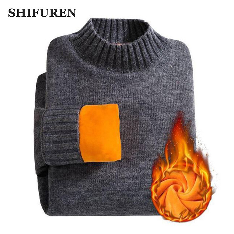 SHIFUREN Winter Warm Turtle Neck Sweaters Men Thicken Fleece Long Sleeve Pullovers Soft Male High Neck Jumpers Knitwear