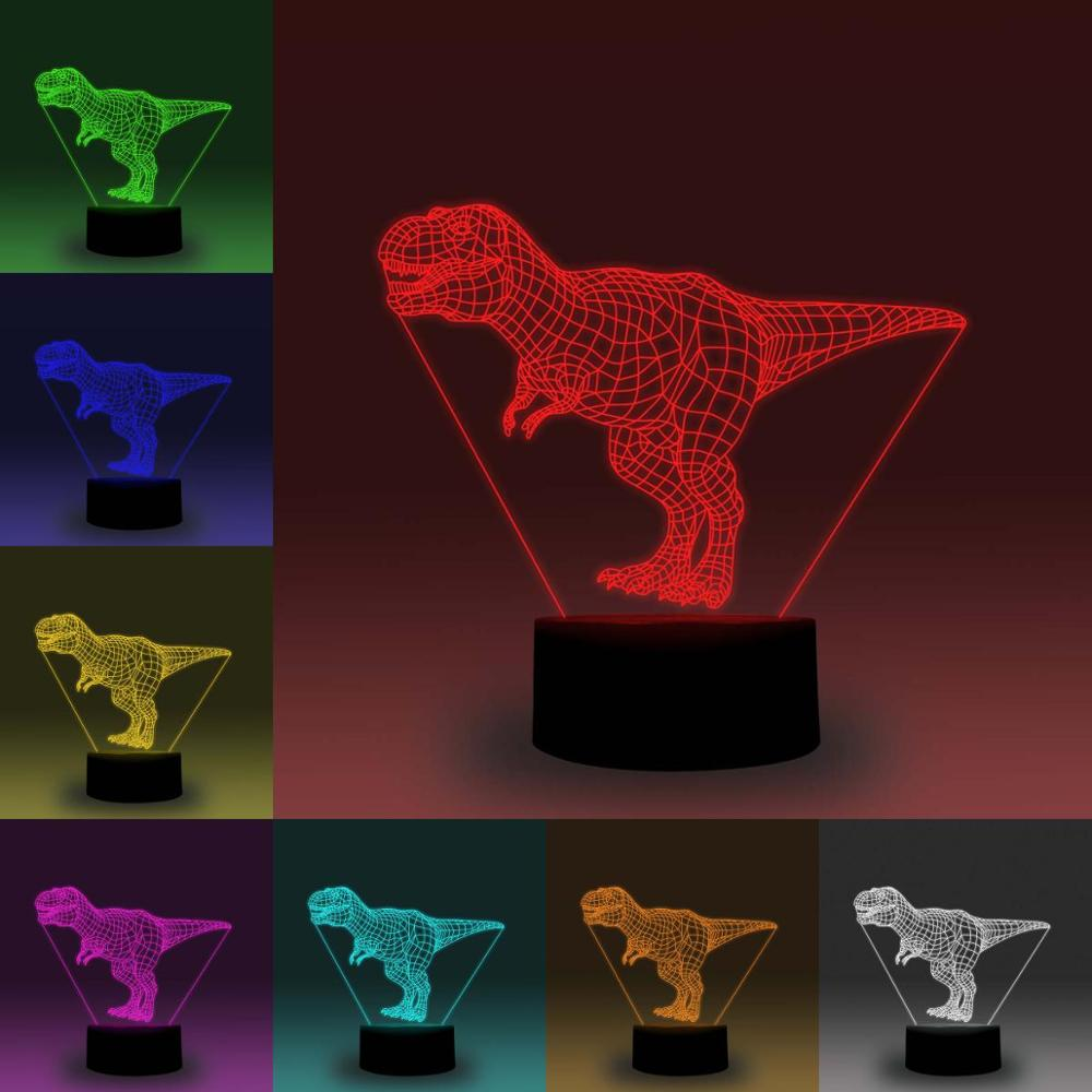 NiteApps Tyrannosaurus Rex (T-Rex) 3D RGB LED Night Light Desk Table Illusion Lamp Holiday Birthday Gift APP/Touch Control