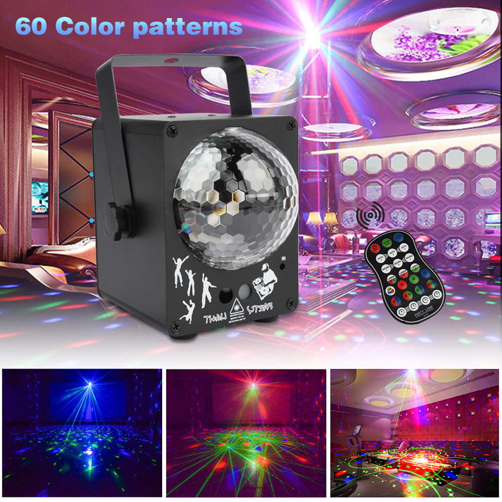 LED Disco Laser Light DJ Music Activated Party Lights RGB 60 Patterns Stage Lighting Projector Effect For Home Wedding Decorated