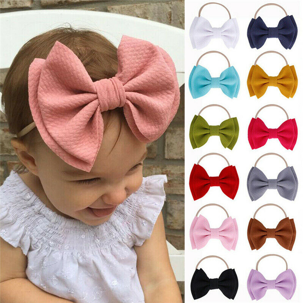 Multicolor Baby Girls Lace Hairband Kids Bowknot Stretchy Headband Photo Props